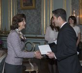 Attendance at scholarship award from Queen Silvia's Jubilee Fund for Research into Children and Children's Disabilities, Royal Palace of Stockholm, 2014-01-22